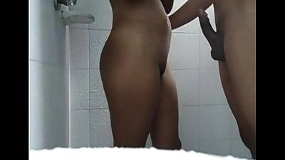 Washroom fucking hot young wife tits pussy